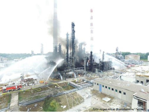 Eksplozja i pożar w rafinerii w Niemczech
